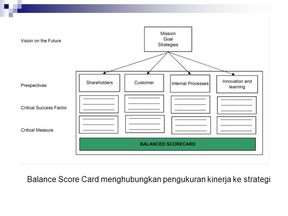 Balance Score Card menghubungkan pengukuran kinerja ke strategi
