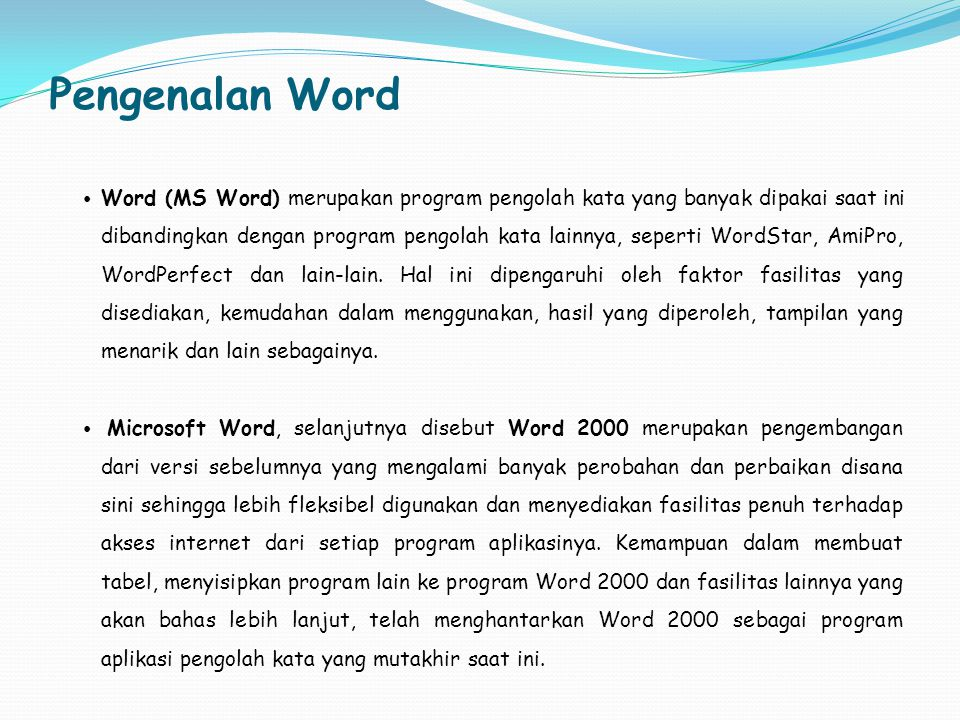 Pengenalan Word
