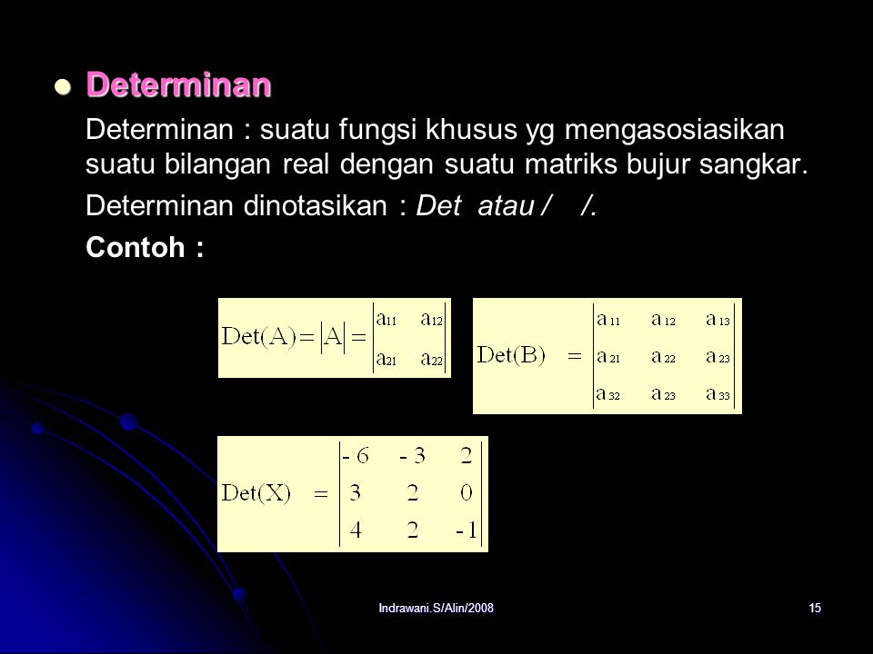 Determinan Determinan : suatu fungsi khusus yg mengasosiasikan suatu bilangan real dengan suatu matriks bujur sangkar.