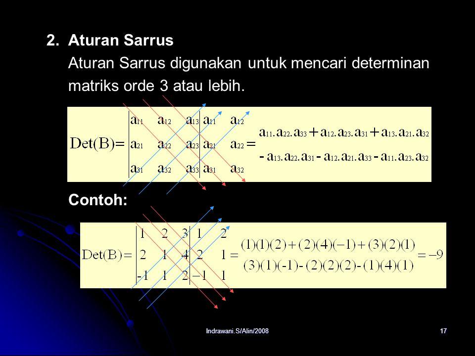 Aturan Sarrus digunakan untuk mencari determinan