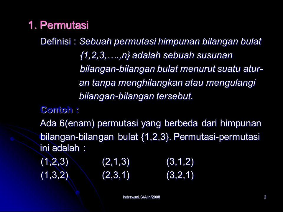 Definisi : Sebuah permutasi himpunan bilangan bulat