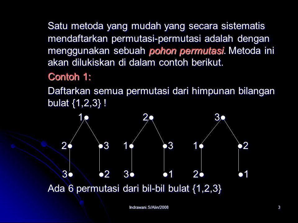 Satu metoda yang mudah yang secara sistematis mendaftarkan permutasi-permutasi adalah dengan menggunakan sebuah pohon permutasi. Metoda ini akan dilukiskan di dalam contoh berikut.