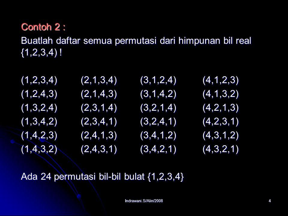 Buatlah daftar semua permutasi dari himpunan bil real {1,2,3,4) !