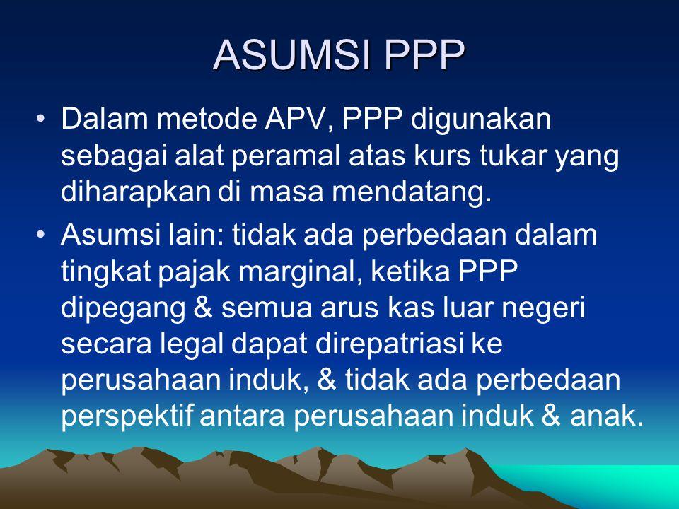 ASUMSI PPP Dalam metode APV, PPP digunakan sebagai alat peramal atas kurs tukar yang diharapkan di masa mendatang.