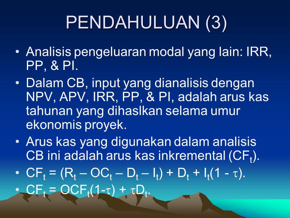 PENDAHULUAN (3) Analisis pengeluaran modal yang lain: IRR, PP, & PI.