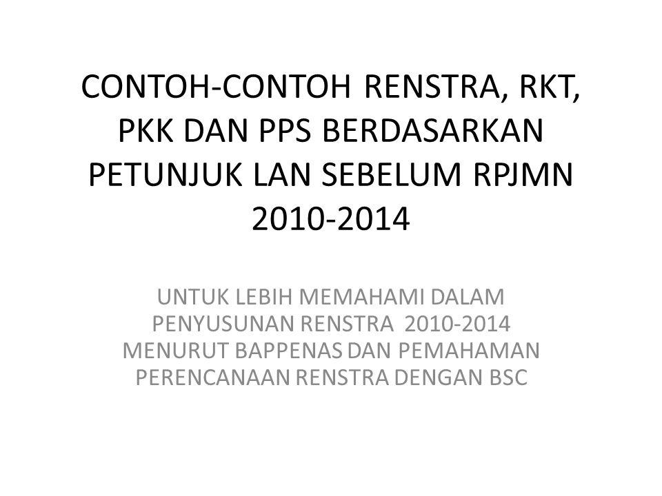 CONTOH-CONTOH RENSTRA, RKT, PKK DAN PPS BERDASARKAN PETUNJUK LAN SEBELUM RPJMN 2010-2014