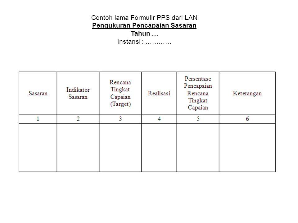 Contoh lama Formulir PPS dari LAN Pengukuran Pencapaian Sasaran