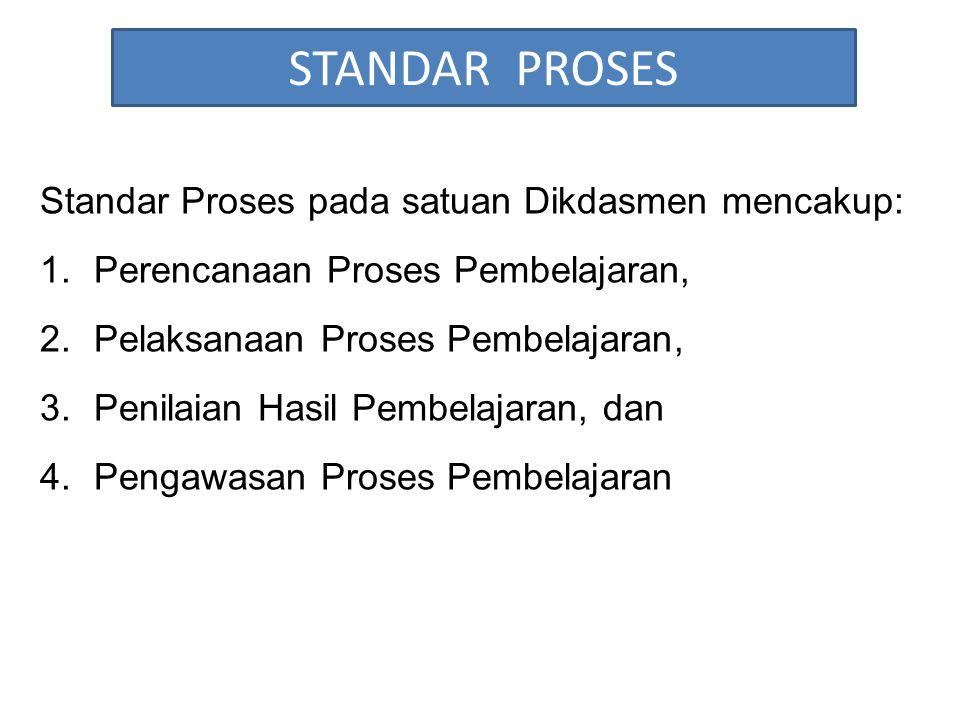 STANDAR PROSES Standar Proses pada satuan Dikdasmen mencakup: