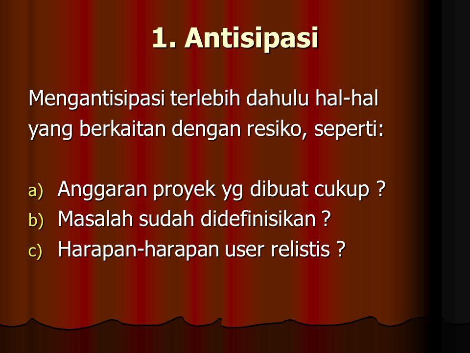 1. Antisipasi Mengantisipasi terlebih dahulu hal-hal