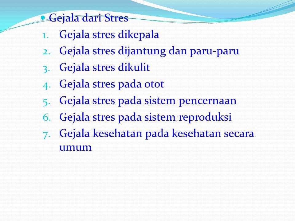 Gejala dari Stres Gejala stres dikepala. Gejala stres dijantung dan paru-paru. Gejala stres dikulit.