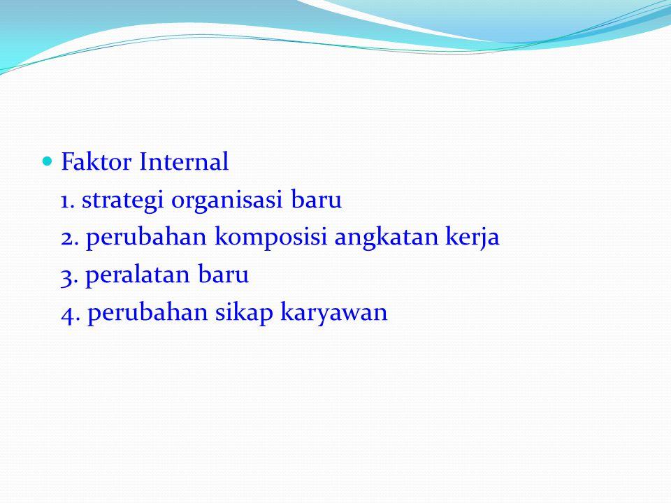 Faktor Internal 1. strategi organisasi baru. 2. perubahan komposisi angkatan kerja. 3. peralatan baru.