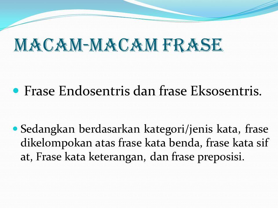 MACAM-MACAM FRASE Frase Endosentris dan frase Eksosentris.