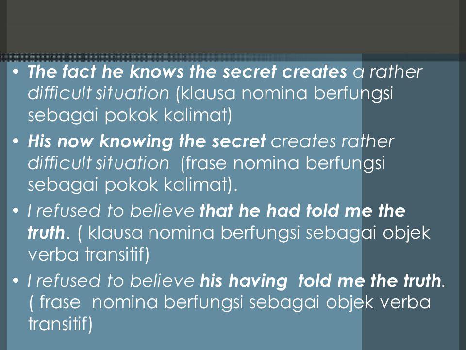 The fact he knows the secret creates a rather difficult situation (klausa nomina berfungsi sebagai pokok kalimat)