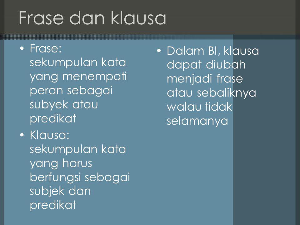 Frase dan klausa Frase: sekumpulan kata yang menempati peran sebagai subyek atau predikat.
