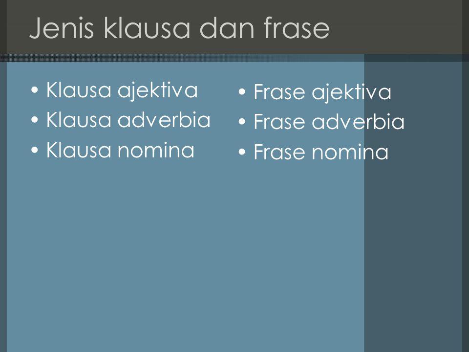 Jenis klausa dan frase Klausa ajektiva Frase ajektiva Klausa adverbia