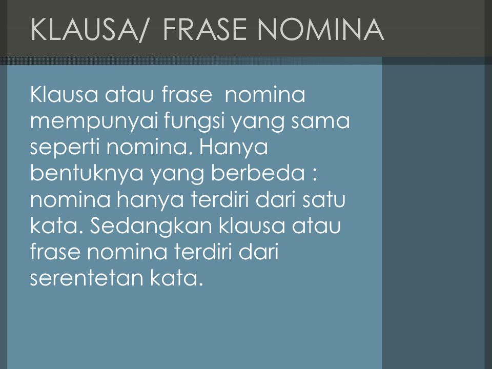 KLAUSA/ FRASE NOMINA