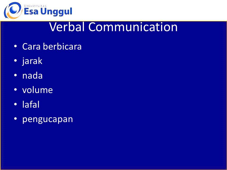 Verbal Communication Cara berbicara jarak nada volume lafal pengucapan