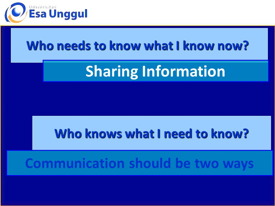 Sharing Information Communication should be two ways