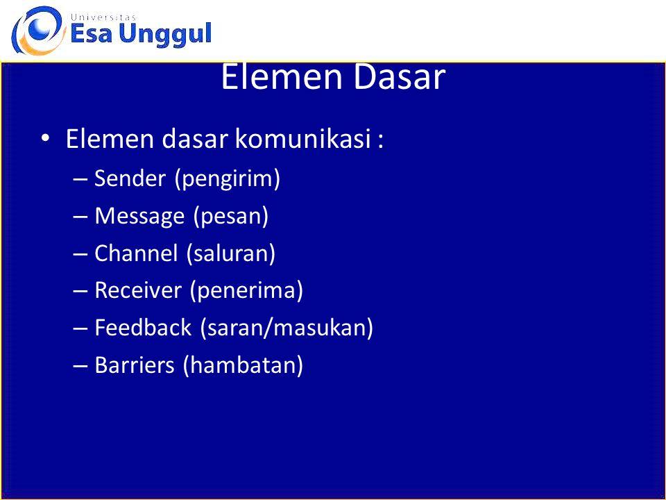 Elemen Dasar Elemen dasar komunikasi : Sender (pengirim)