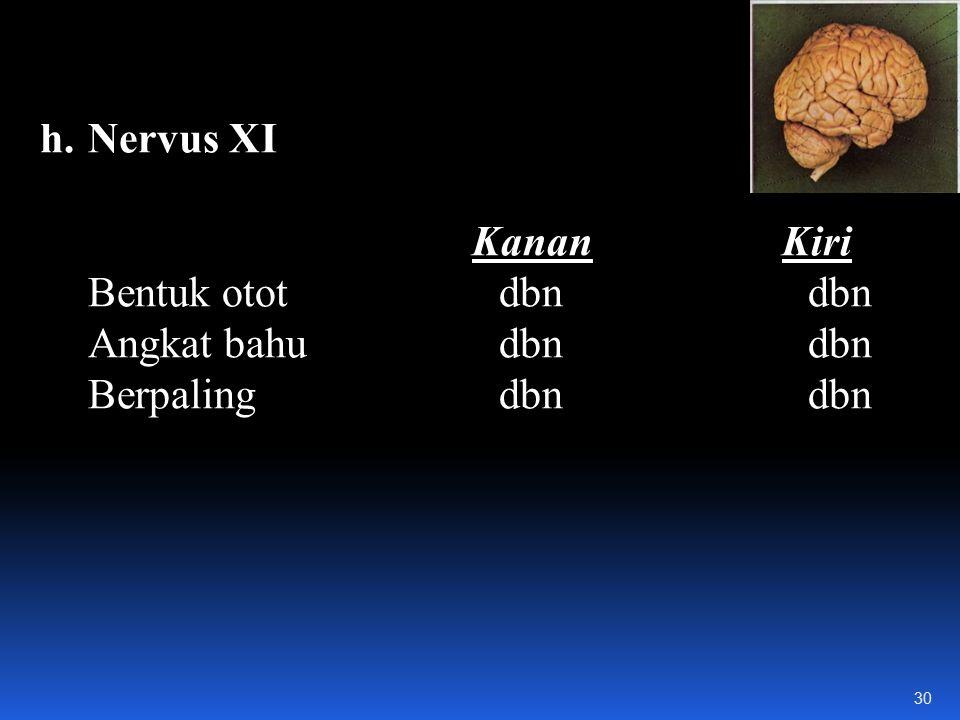 Nervus XI Kanan Kiri. Bentuk otot dbn dbn. Angkat bahu dbn dbn.