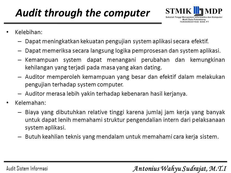 Audit through the computer