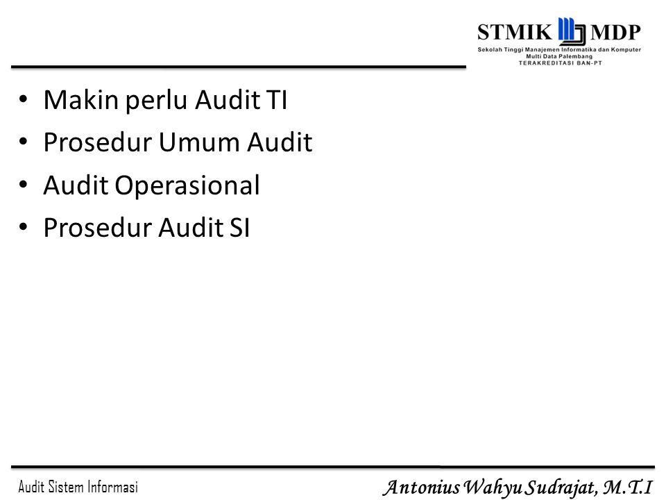 Makin perlu Audit TI Prosedur Umum Audit Audit Operasional Prosedur Audit SI