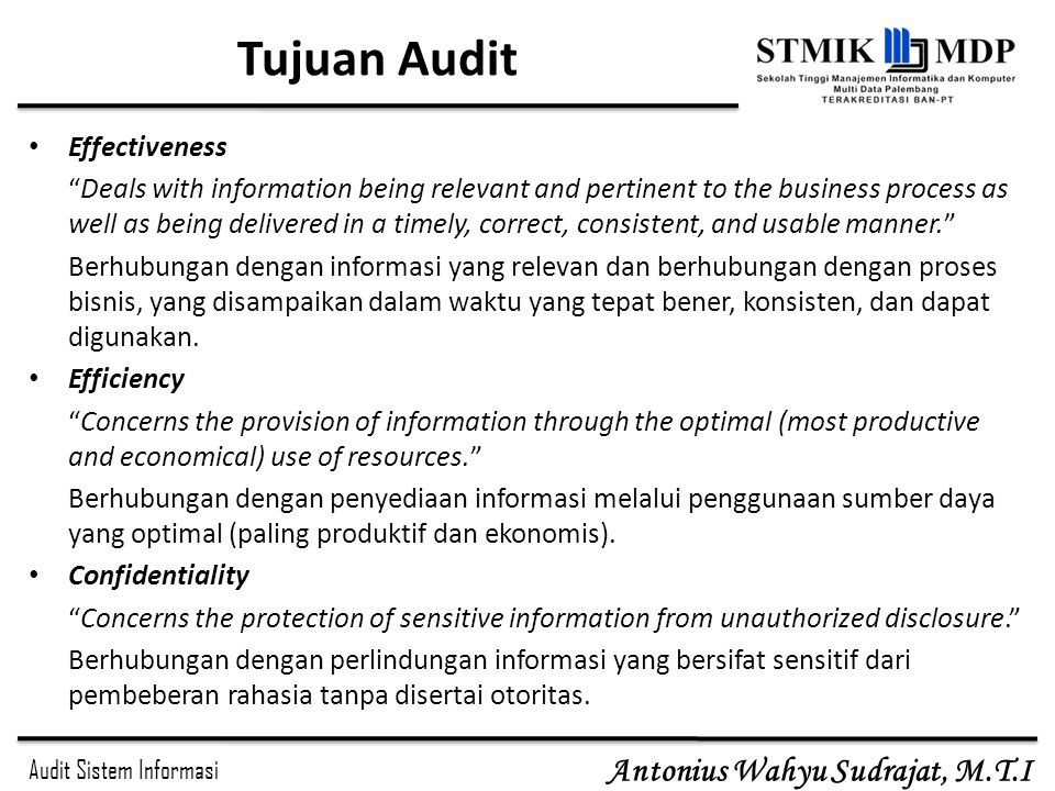 Tujuan Audit Effectiveness