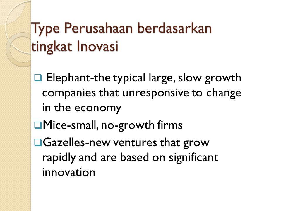 Type Perusahaan berdasarkan tingkat Inovasi