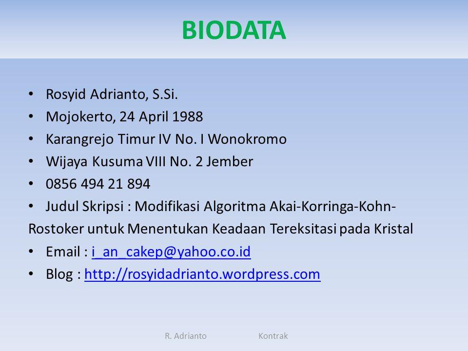 BIODATA Rosyid Adrianto, S.Si. Mojokerto, 24 April 1988