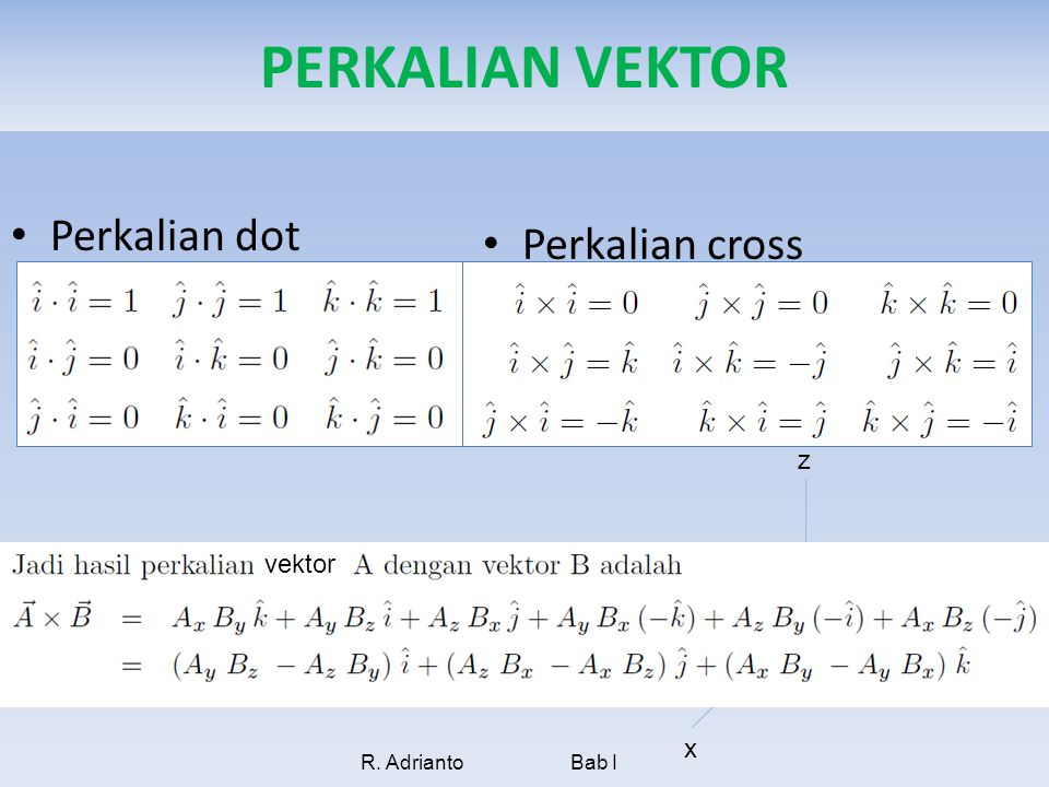 PERKALIAN VEKTOR Perkalian dot Perkalian cross z vektor y i x ˆ k ˆ j
