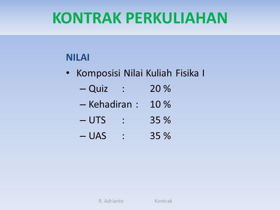 KONTRAK PERKULIAHAN NILAI Komposisi Nilai Kuliah Fisika I Quiz : 20 %