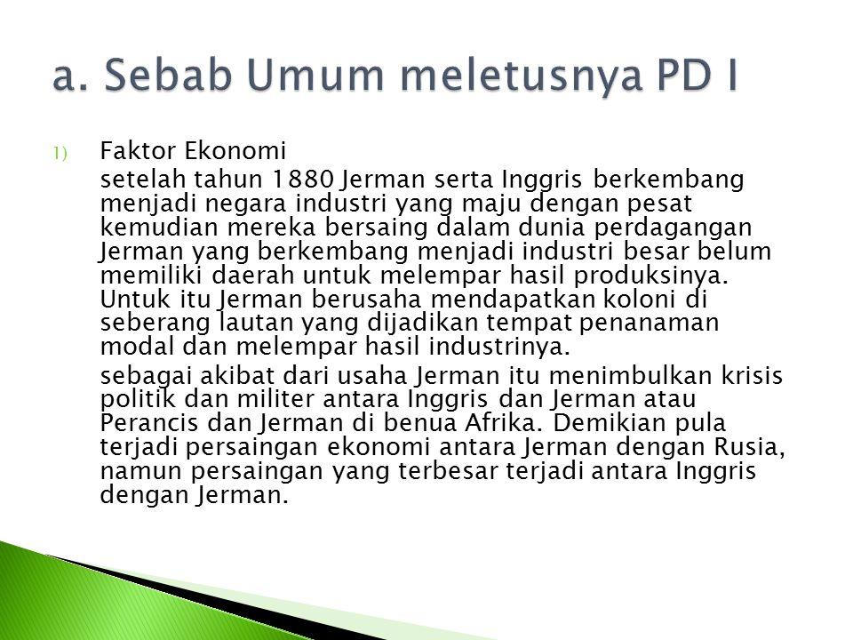 a. Sebab Umum meletusnya PD I