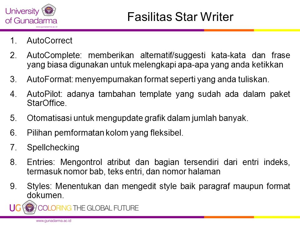 Fasilitas Star Writer AutoCorrect