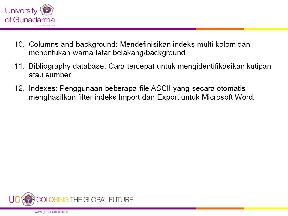 Columns and background: Mendefinisikan indeks multi kolom dan menentukan warna latar belakang/background.