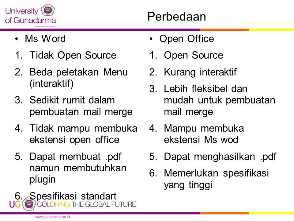 Perbedaan Ms Word Tidak Open Source Beda peletakan Menu (interaktif)