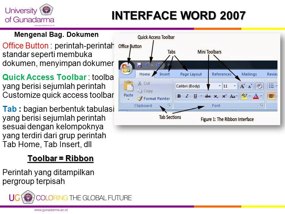 Mengenal Bag. Dokumen INTERFACE WORD 2007. Office Button : perintah-perintah standar seperti membuka dokumen, menyimpan dokumen.