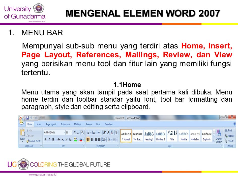 MENGENAL ELEMEN WORD 2007 MENU BAR