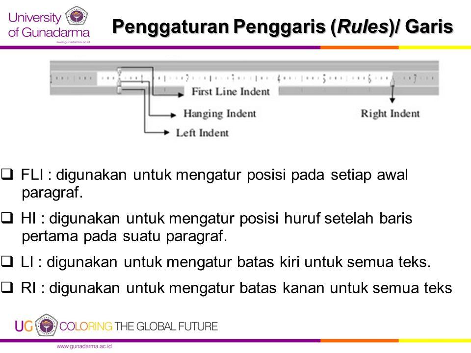 Penggaturan Penggaris (Rules)/ Garis