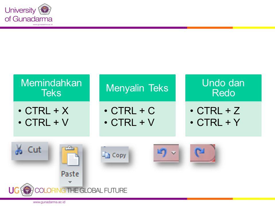 Memindahkan Teks CTRL + X CTRL + V Menyalin Teks CTRL + C Undo dan Redo CTRL + Z CTRL + Y