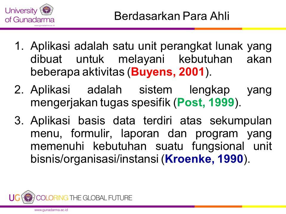 Berdasarkan Para Ahli Aplikasi adalah satu unit perangkat lunak yang dibuat untuk melayani kebutuhan akan beberapa aktivitas (Buyens, 2001).
