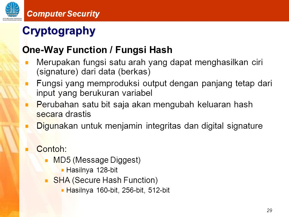 Cryptography One-Way Function / Fungsi Hash
