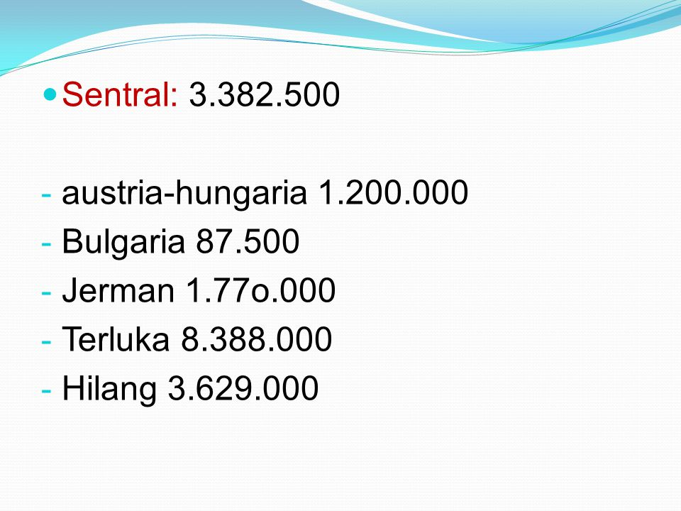 Sentral: 3.382.500 austria-hungaria 1.200.000. Bulgaria 87.500. Jerman 1.77o.000. Terluka 8.388.000.