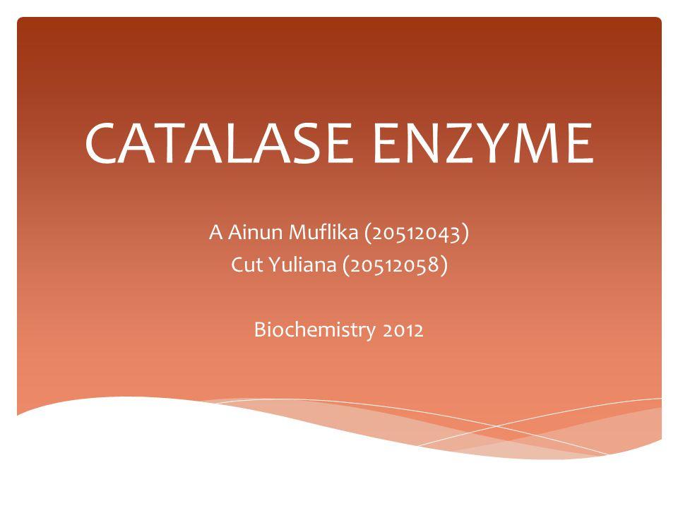 A Ainun Muflika (20512043) Cut Yuliana (20512058) Biochemistry 2012