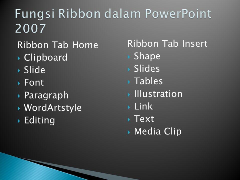 Fungsi Ribbon dalam PowerPoint 2007