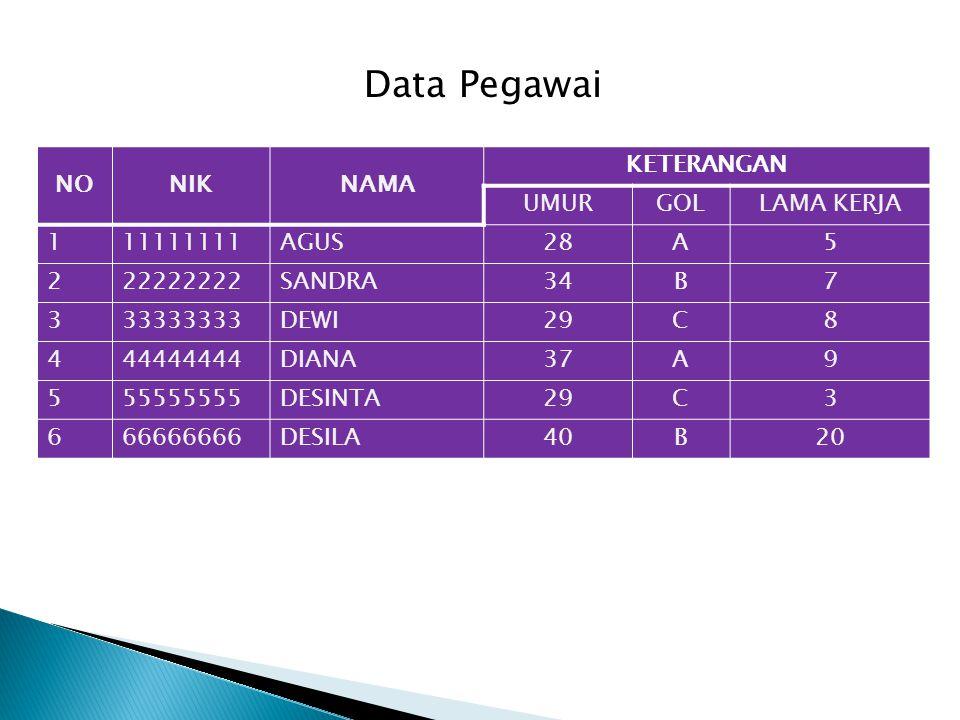 Data Pegawai NO NIK NAMA KETERANGAN UMUR GOL LAMA KERJA 1 11111111