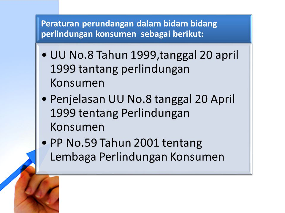 UU No.8 Tahun 1999,tanggal 20 april 1999 tantang perlindungan Konsumen