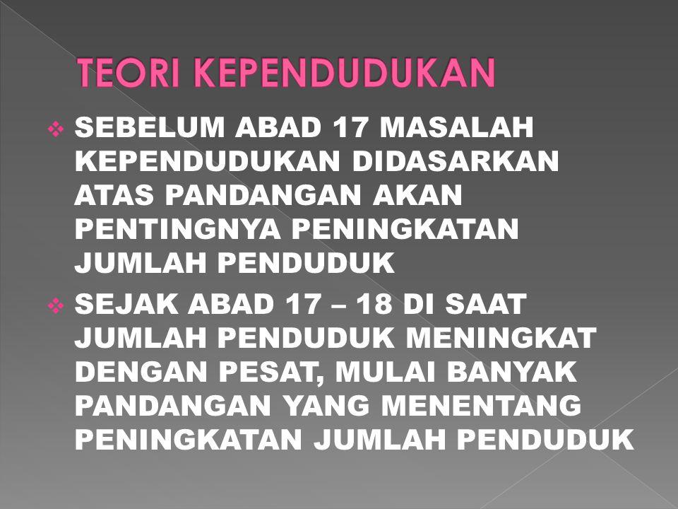 TEORI KEPENDUDUKAN SEBELUM ABAD 17 MASALAH KEPENDUDUKAN DIDASARKAN ATAS PANDANGAN AKAN PENTINGNYA PENINGKATAN JUMLAH PENDUDUK.