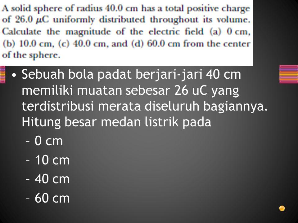 Sebuah bola padat berjari-jari 40 cm memiliki muatan sebesar 26 uC yang terdistribusi merata diseluruh bagiannya. Hitung besar medan listrik pada