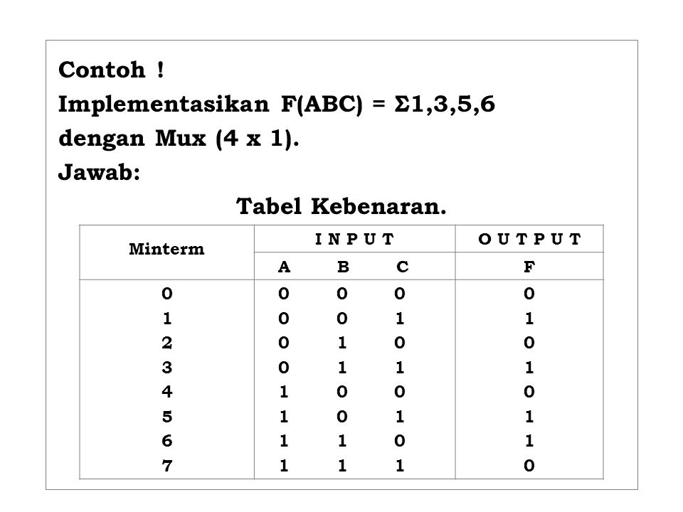 Implementasikan F(ABC) = Σ1,3,5,6 dengan Mux (4 x 1). Jawab:
