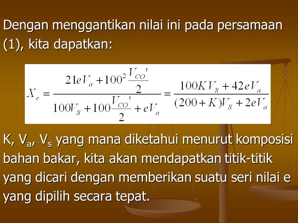 Dengan menggantikan nilai ini pada persamaan